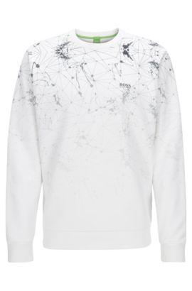 Sweat à col ras-du-cou en tissu technique mélangé, Blanc