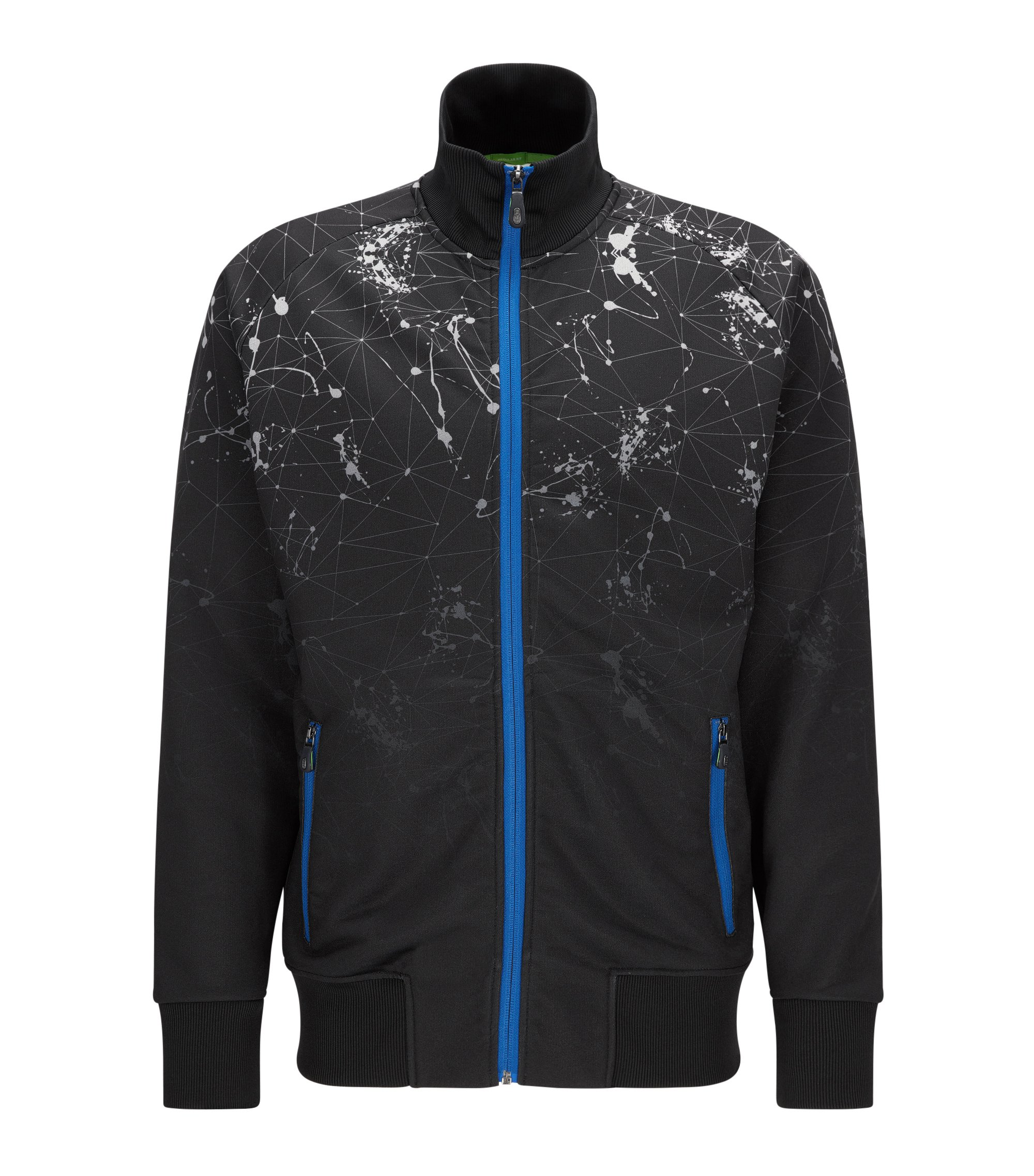 Zip-through jacket in a technical blend , Black