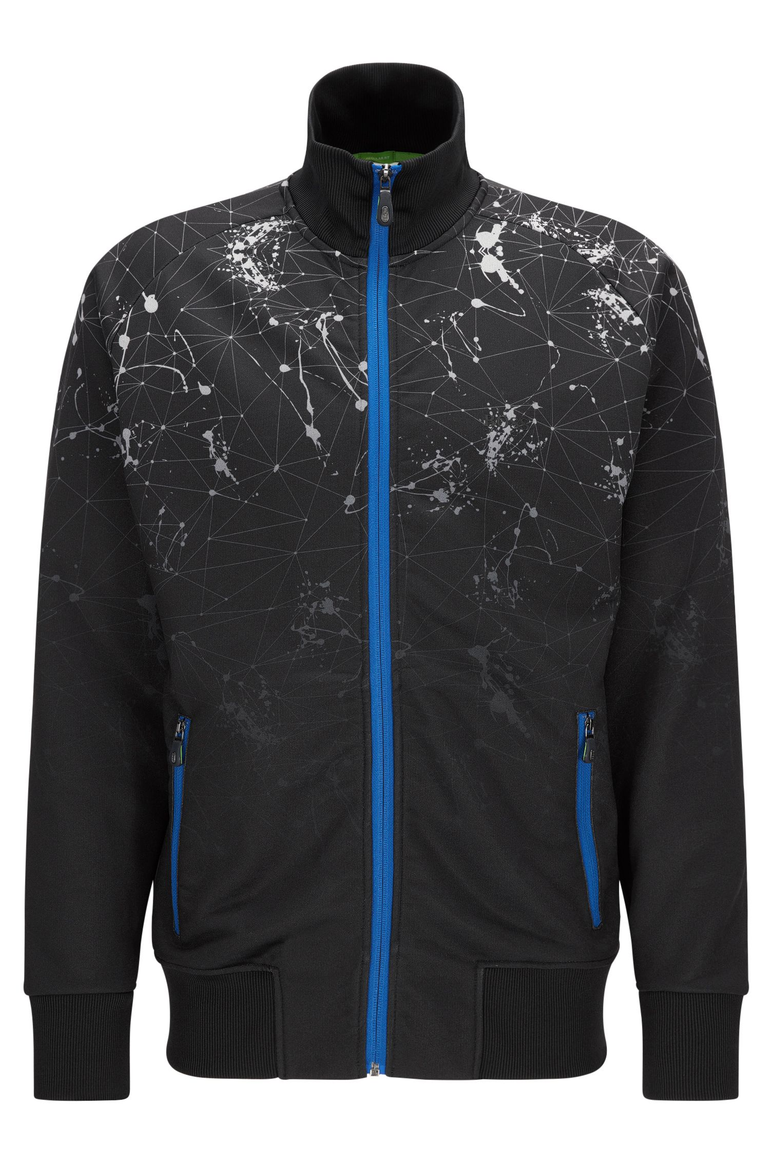 Zip-through jacket in a technical blend
