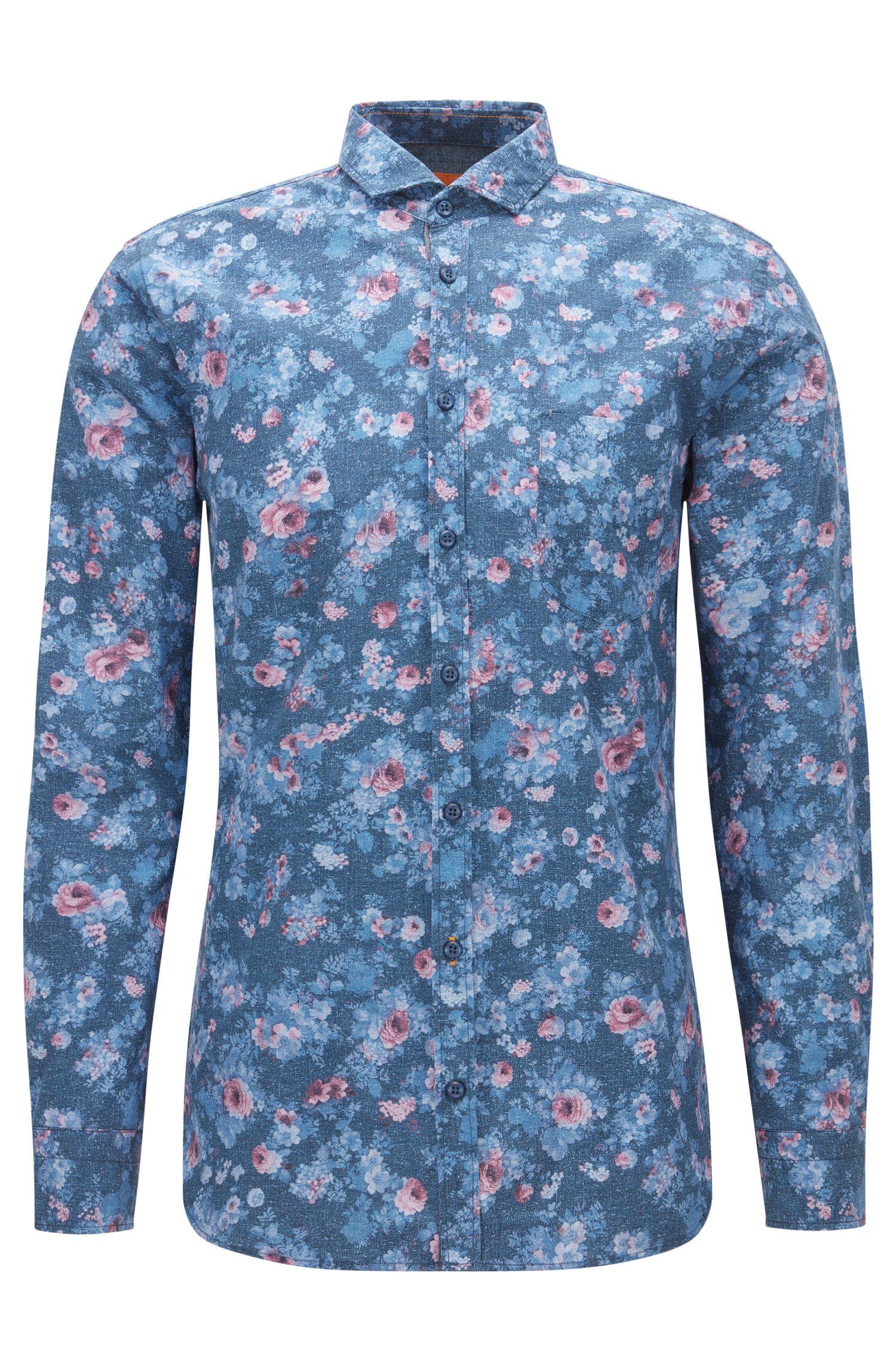 Slim-fit shirt in printed cotton poplin