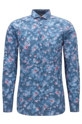 Slim-fit shirt in printed cotton poplin, Patterned