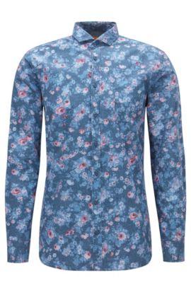 Bedrucktes Slim-Fit Hemd aus Baumwoll-Popeline, Gemustert