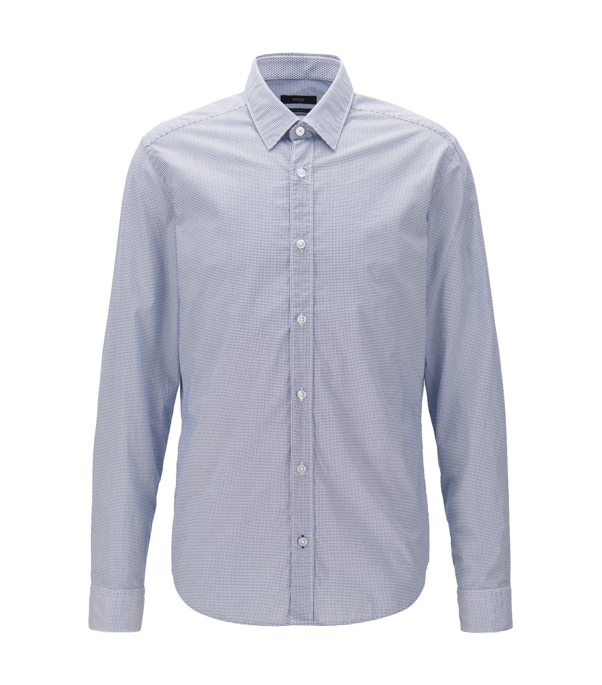 Regular-Fit-Hemd aus bedruckter Baumwoll-Popeline, Hellblau