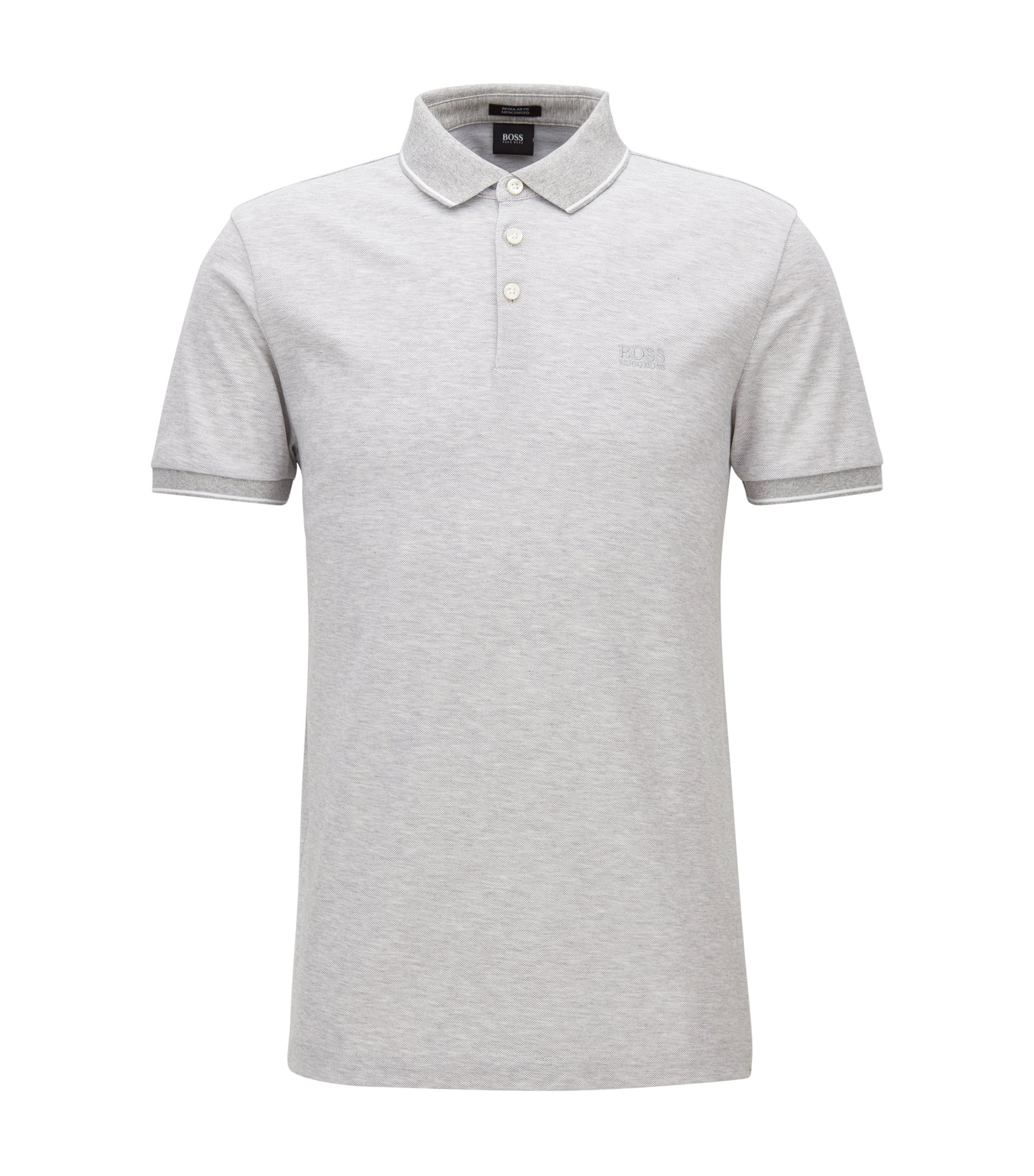 Polo Regular Fit en piqué de coton mercerisé, Gris chiné