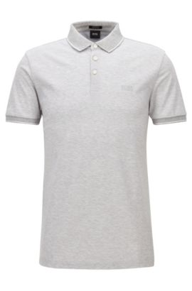 Regular-fit mercerised cotton piqué polo shirt, Light Grey