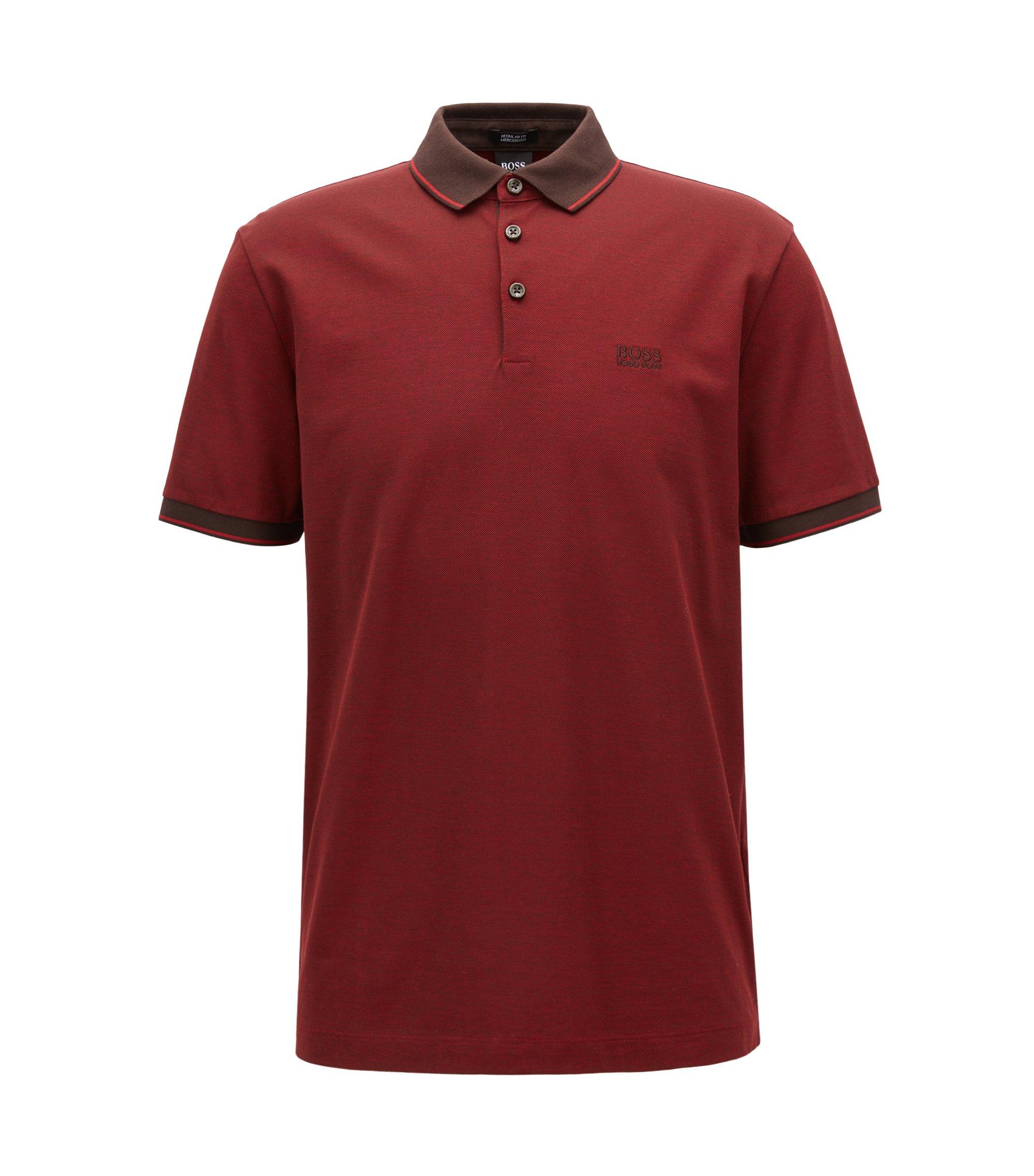 Regular-fit mercerised cotton piqué polo shirt, Dark Brown