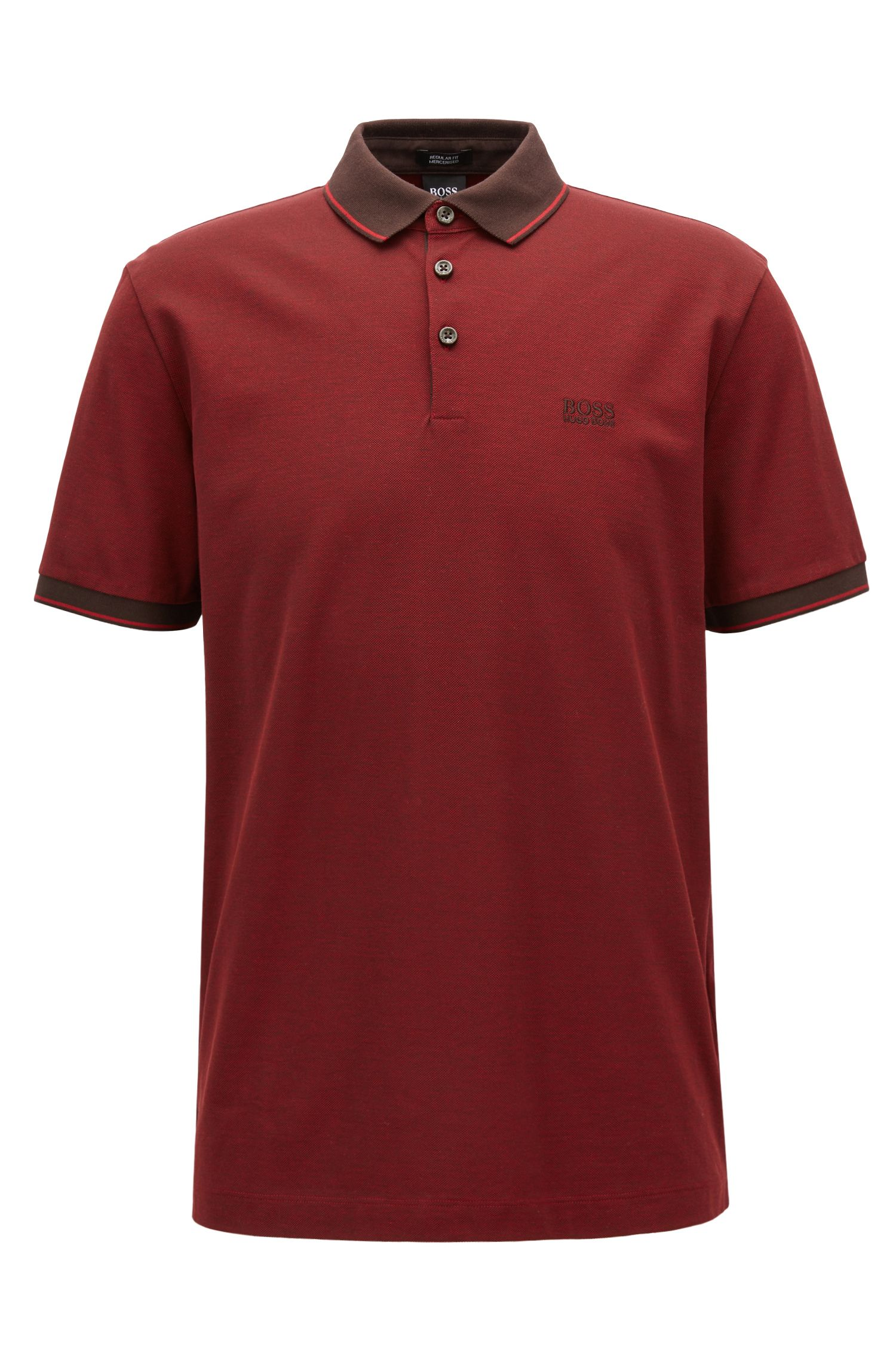 Regular-fit mercerised cotton piqué polo shirt, Dark Brown