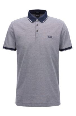 Polo regular fit in piqué di cotone mercerizzato, Blu
