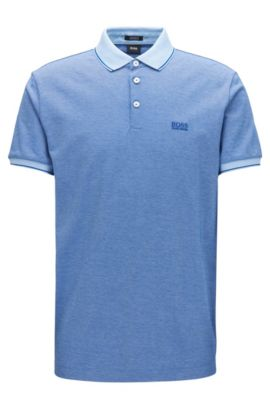 Regular-fit mercerised cotton piqué polo shirt, Dark Blue