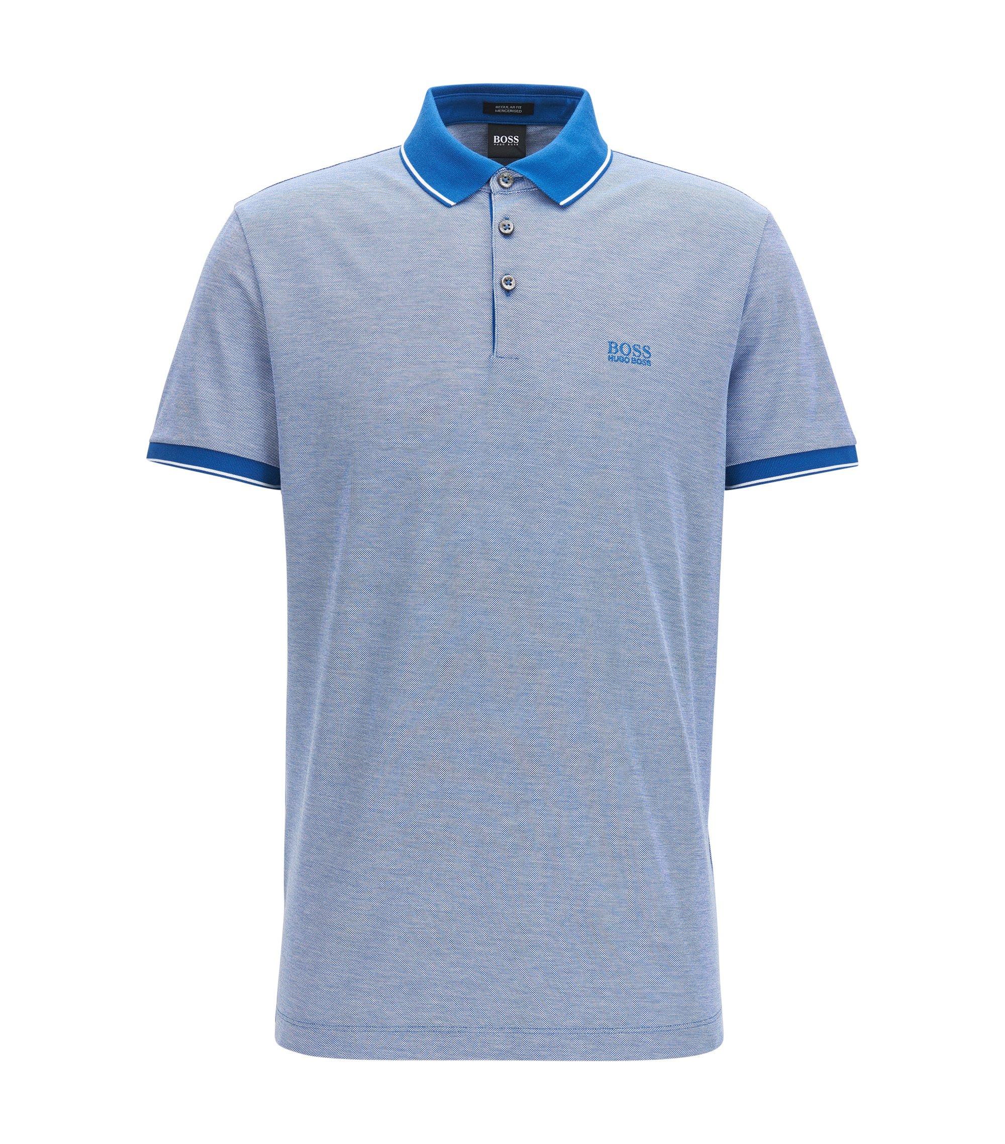 Regular-Fit Poloshirt aus merzerisierter Baumwolle, Blau