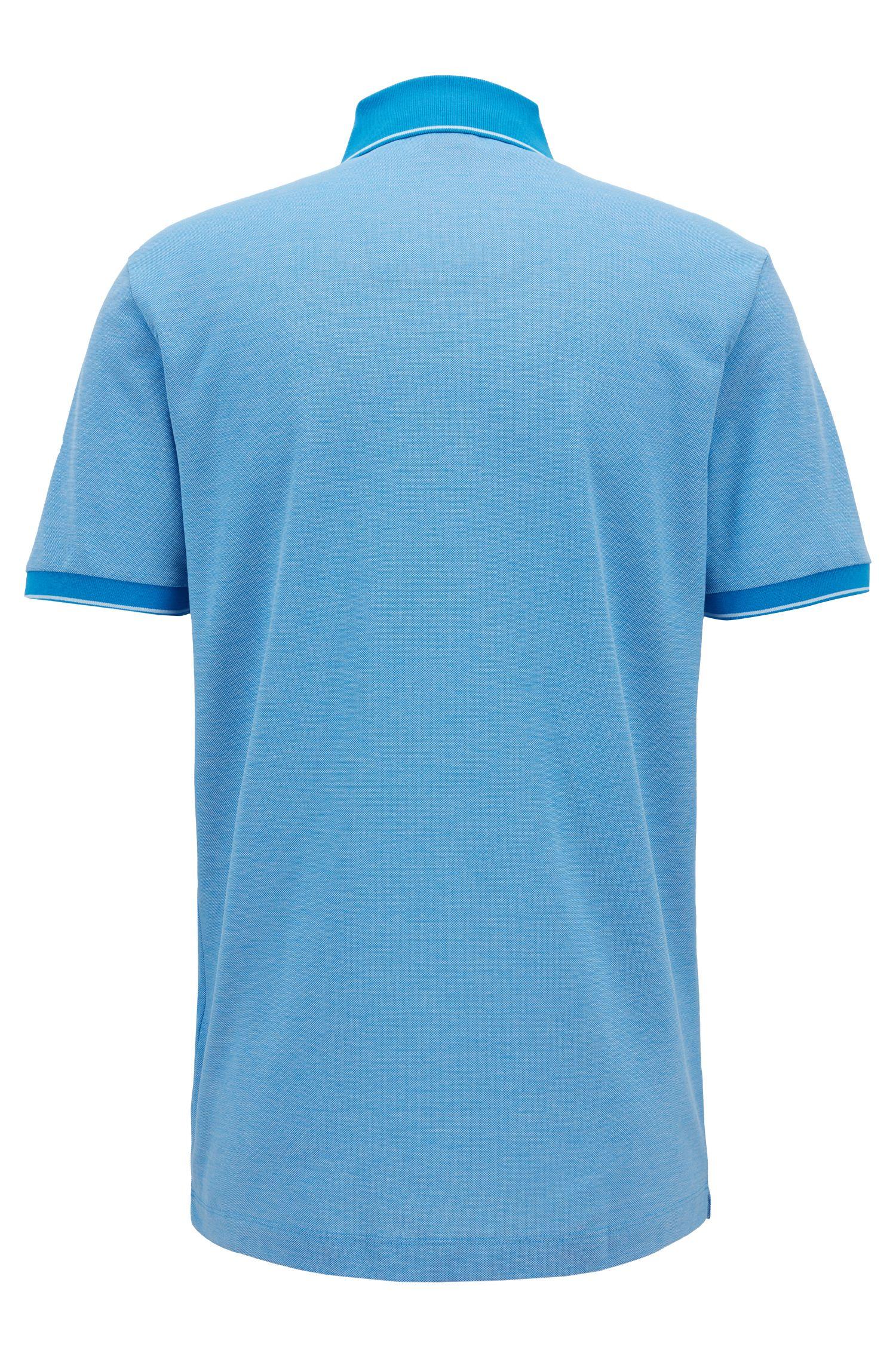 Regular-fit mercerised cotton piqué polo shirt