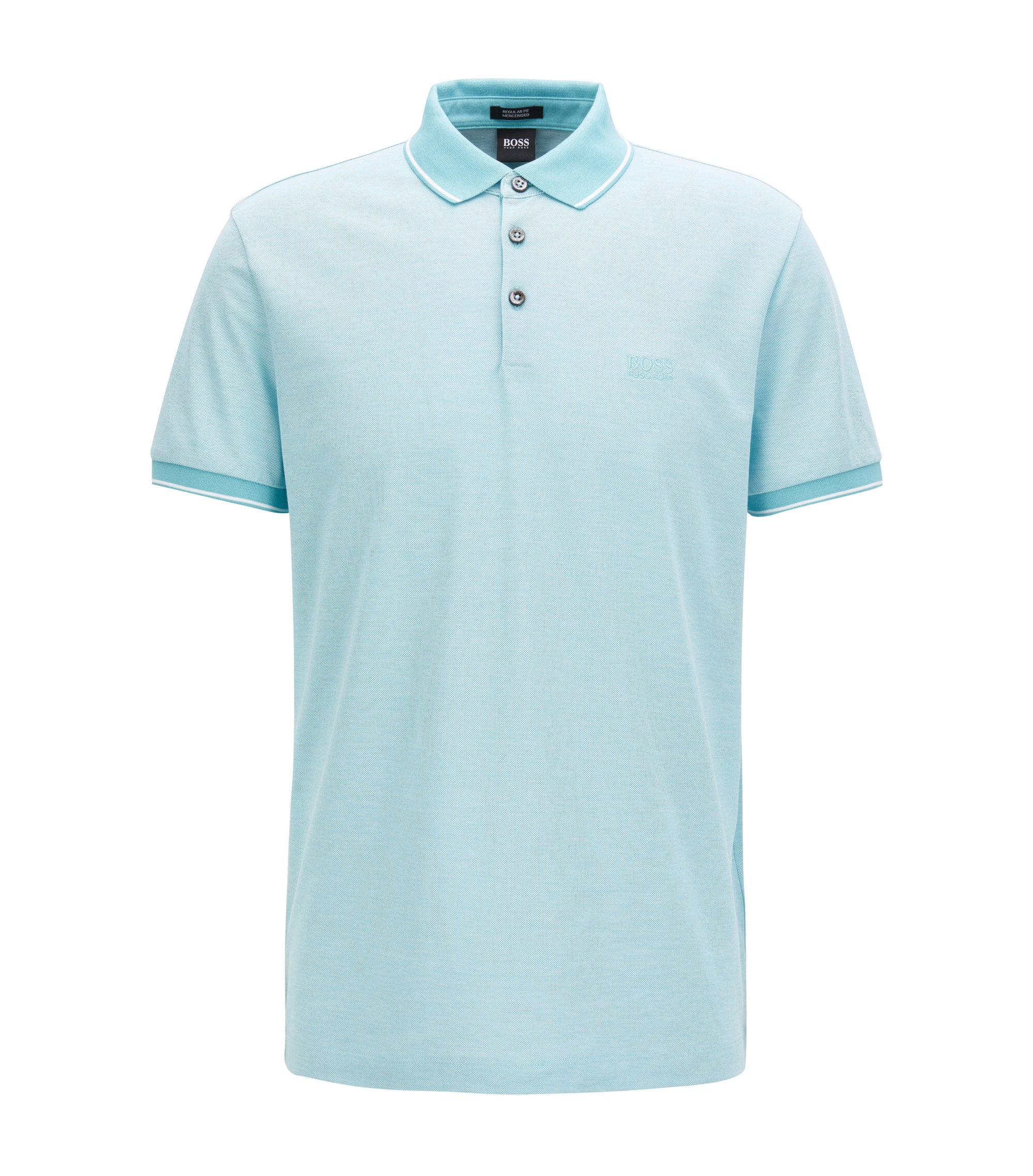 Regular-fit mercerised cotton piqué polo shirt, Light Blue