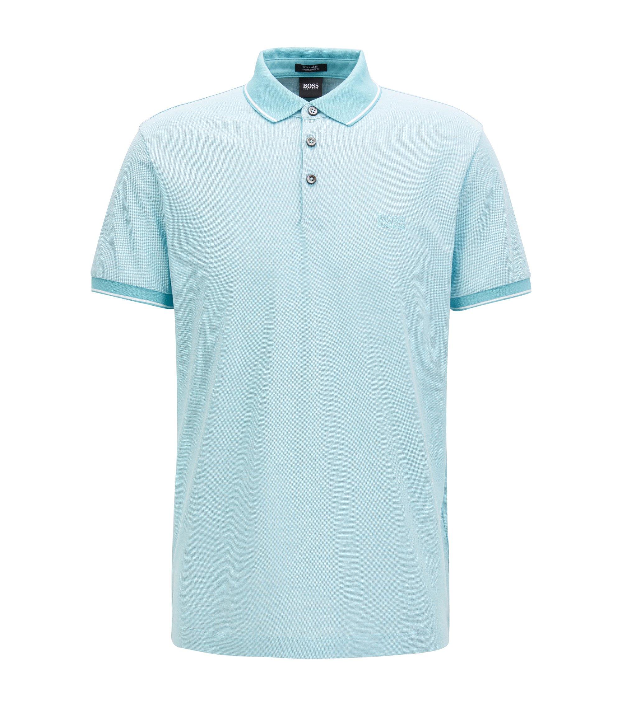 Regular-Fit Poloshirt aus merzerisierter Baumwolle, Hellblau