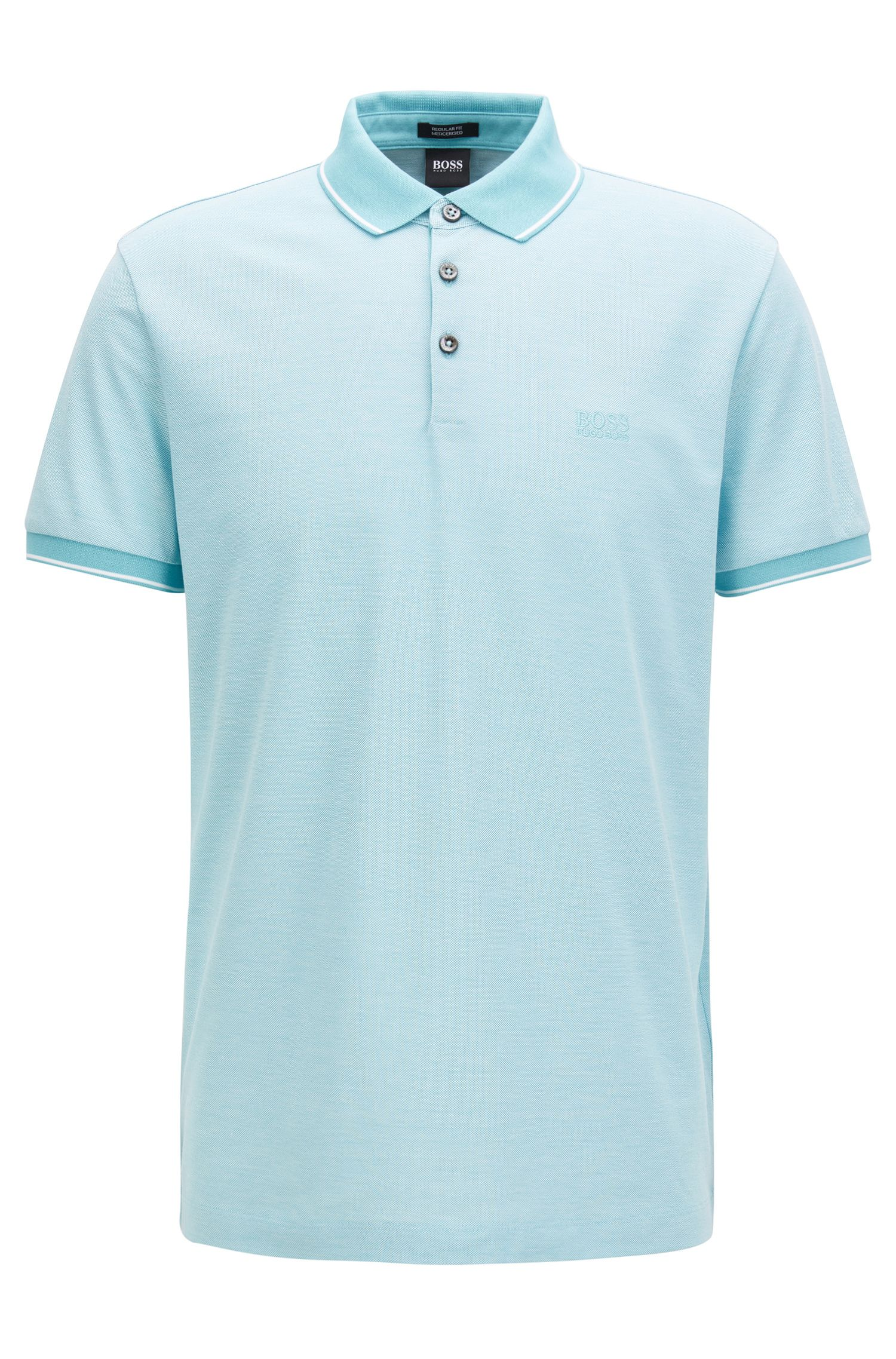 Polo regular fit en piqué de algodón mercerizado