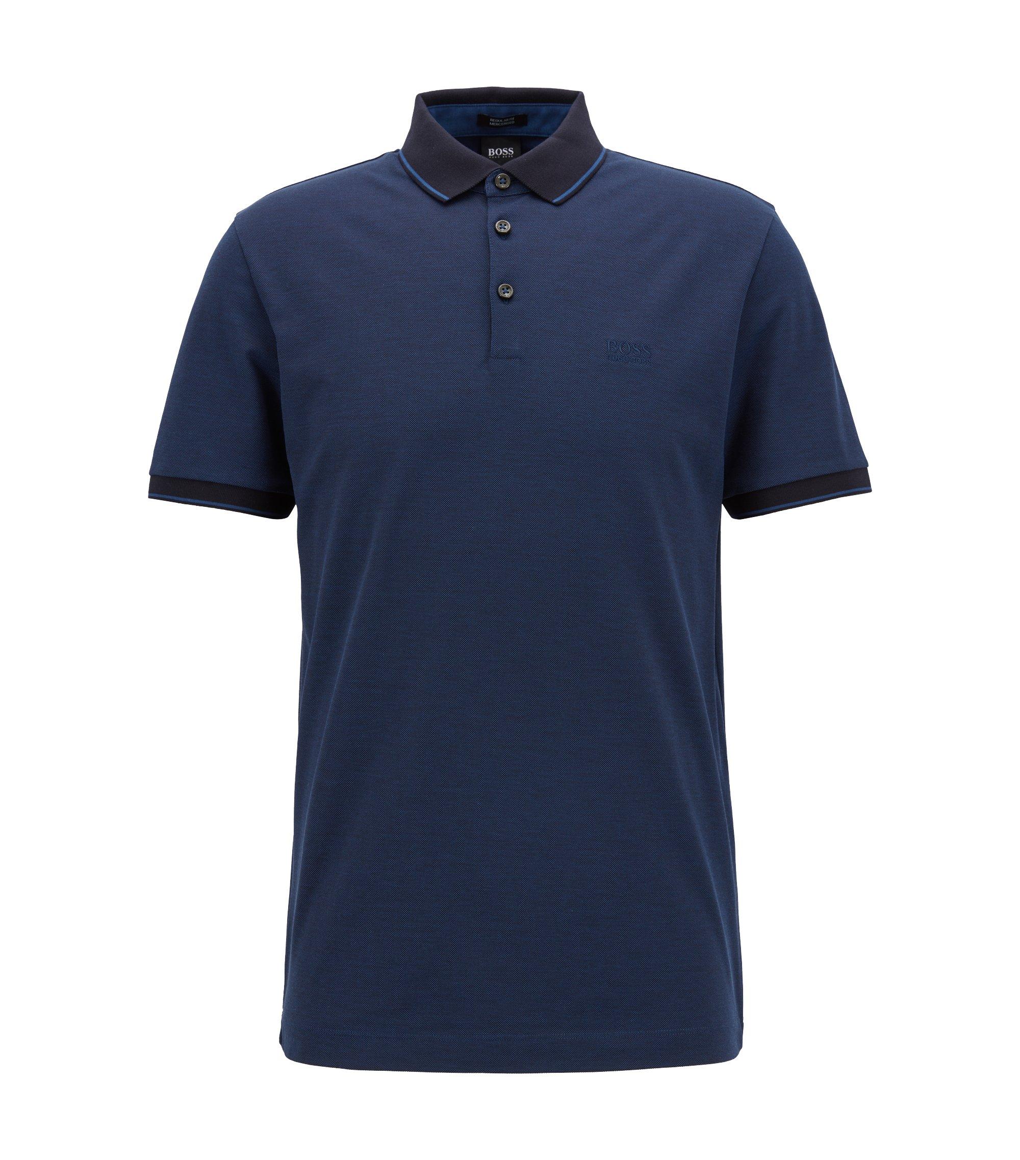 Regular-fit mercerised cotton piqué polo shirt, Blue