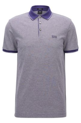 Regular-fit mercerised cotton piqué polo shirt, Dark Purple