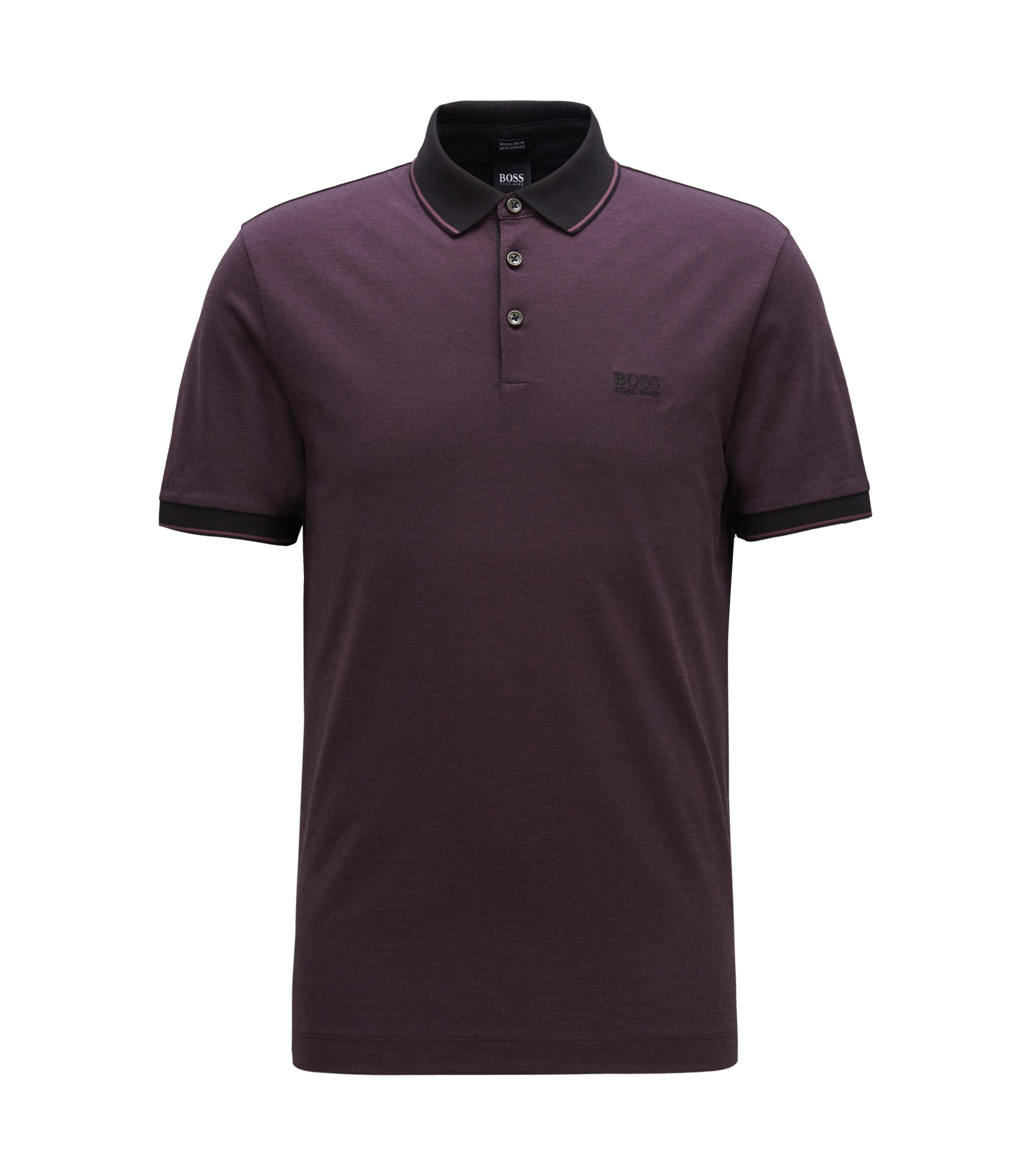 Regular-fit mercerised cotton piqué polo shirt, Dark Purple