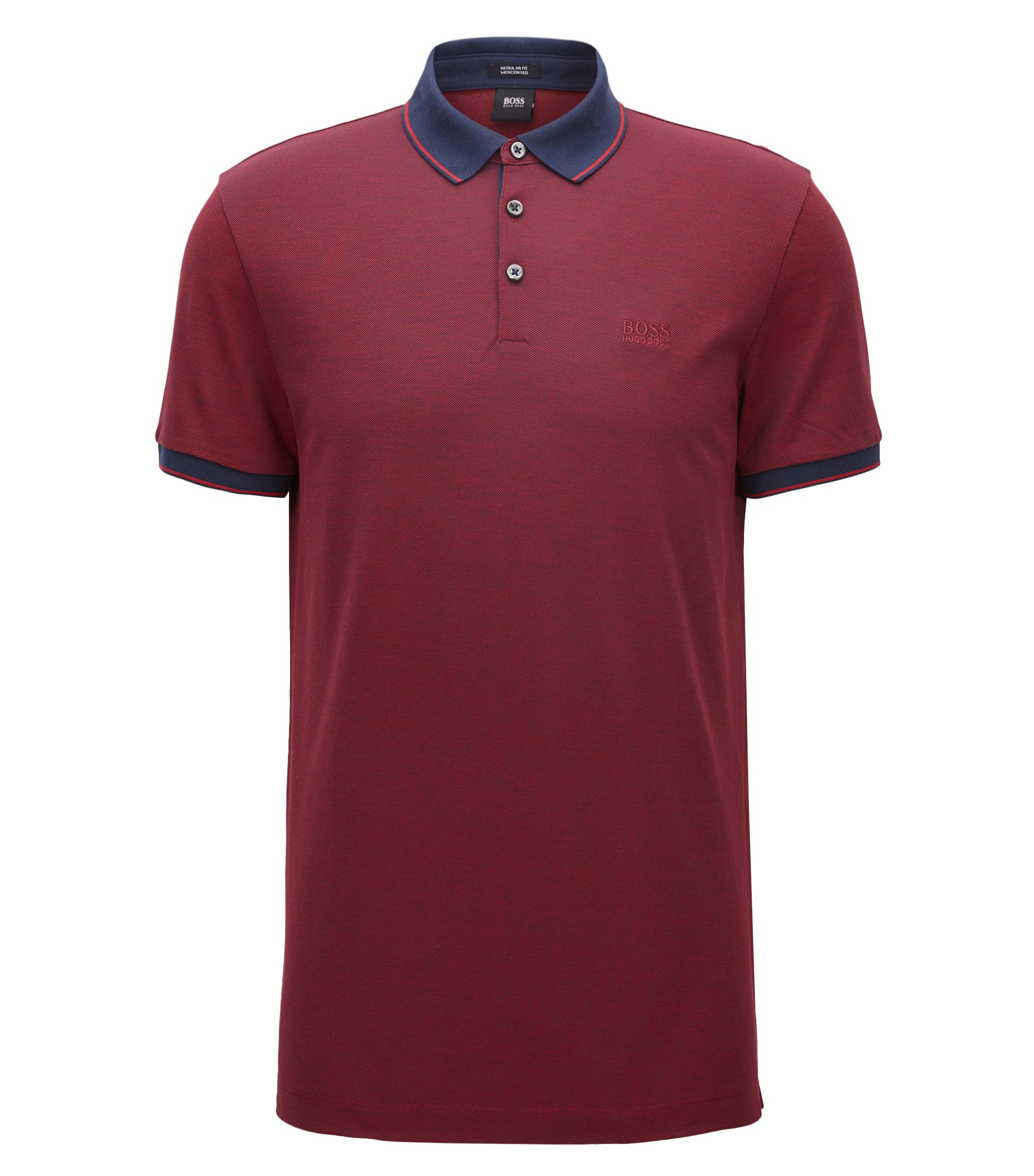 Regular-fit mercerised cotton piqué polo shirt, Dark Red