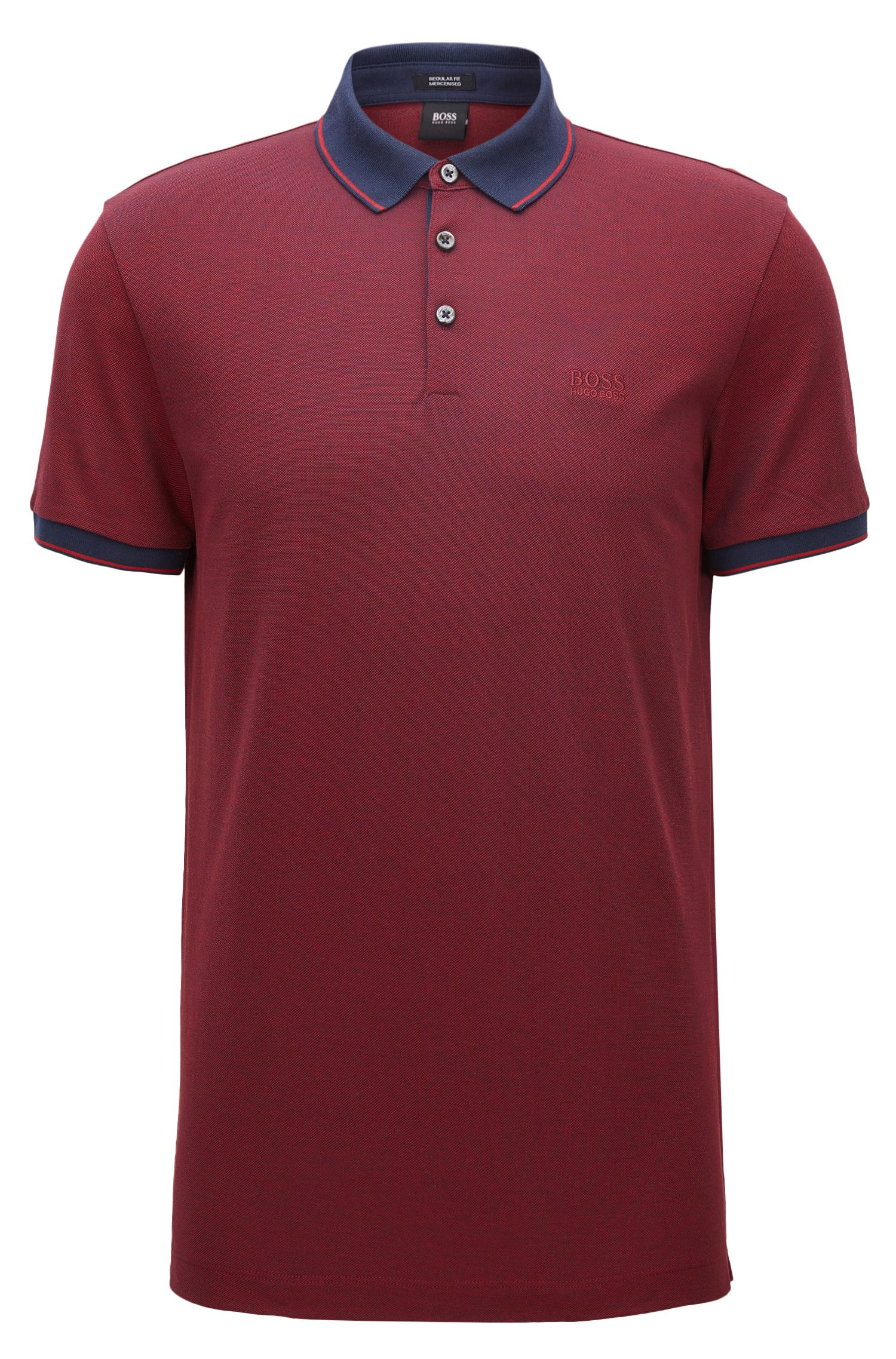 Regular-fit mercerised cotton piqué polo shirt