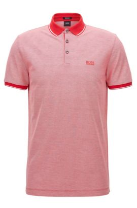 Regular-fit mercerised cotton piqué polo shirt, Red