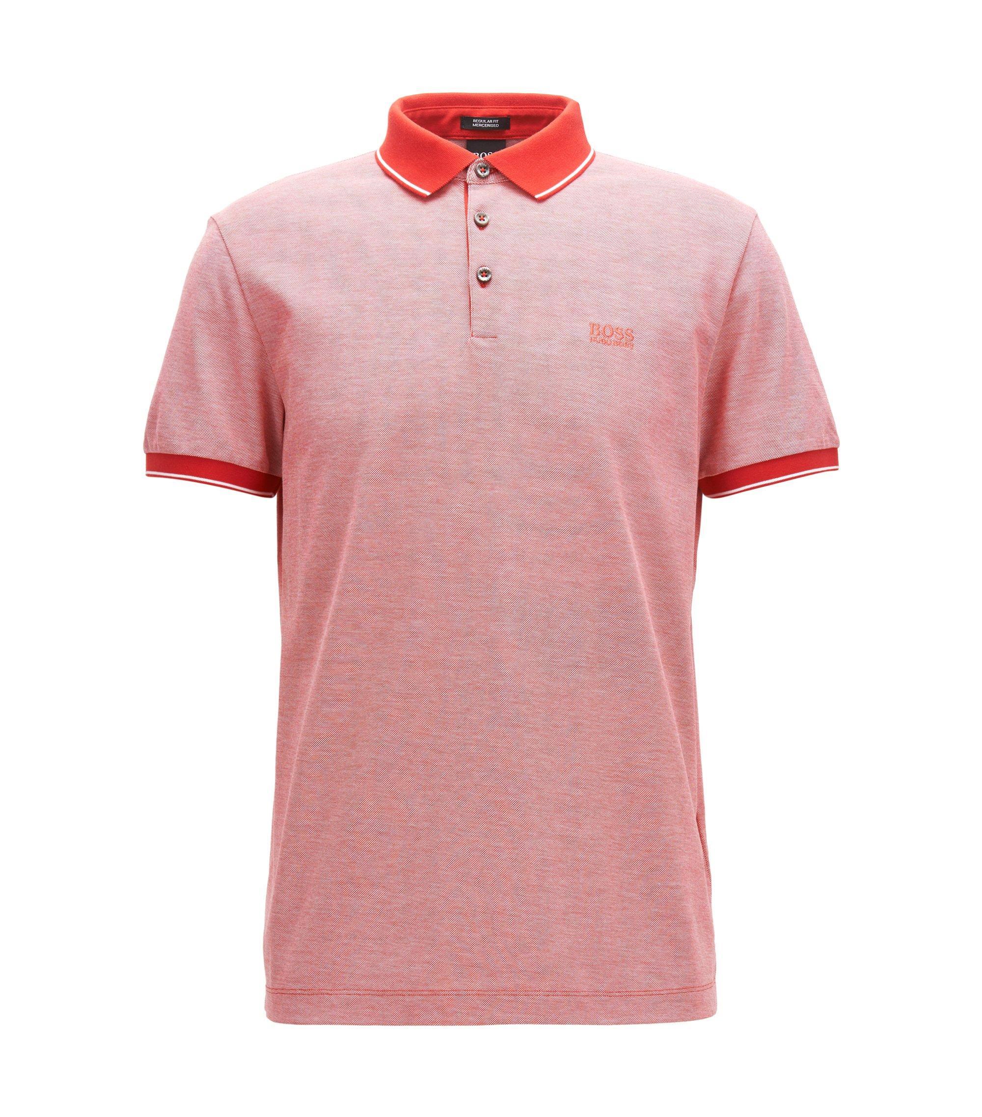 Regular-Fit Poloshirt aus merzerisierter Baumwolle, Dunkelrosa