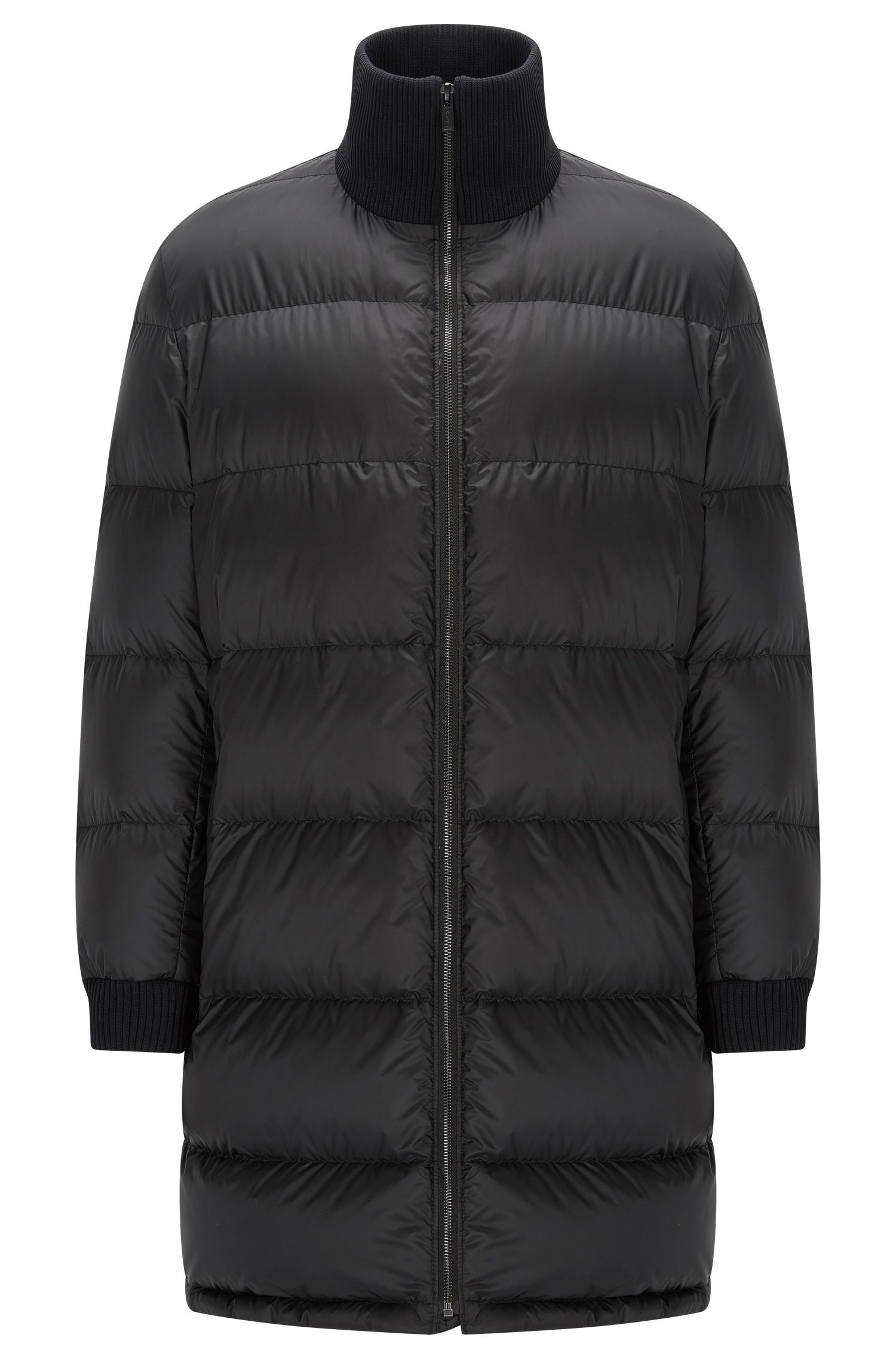 Long-length down jacket in a technical fabric