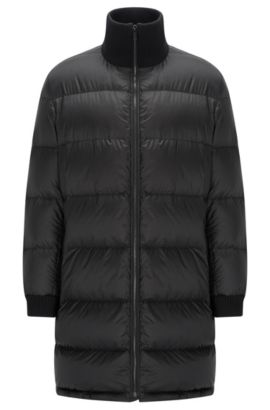 Long-length down jacket in a technical fabric, Black