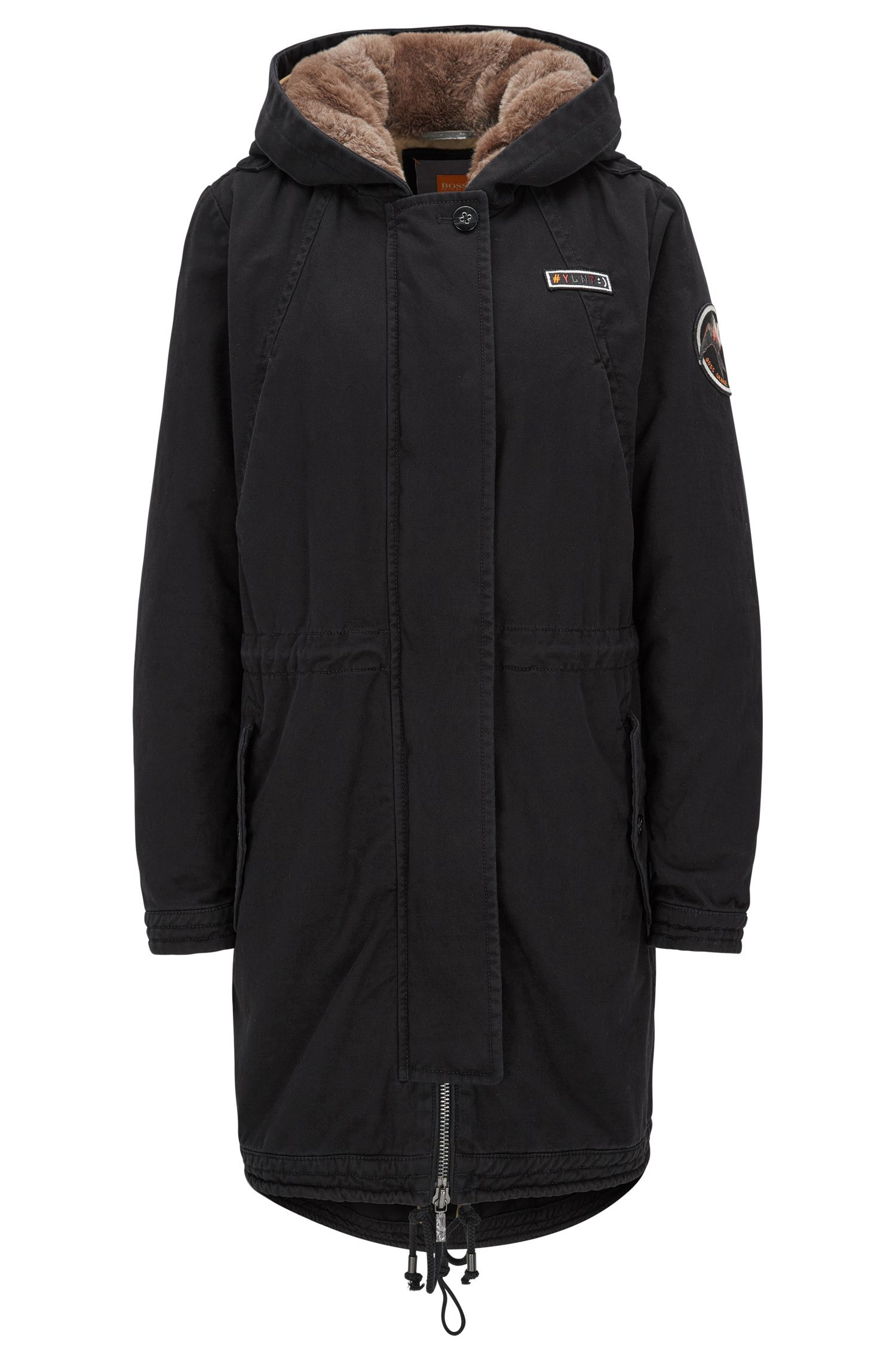 Regular-fit parka in washed cotton