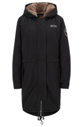 Regular-fit parka in washed cotton, Black