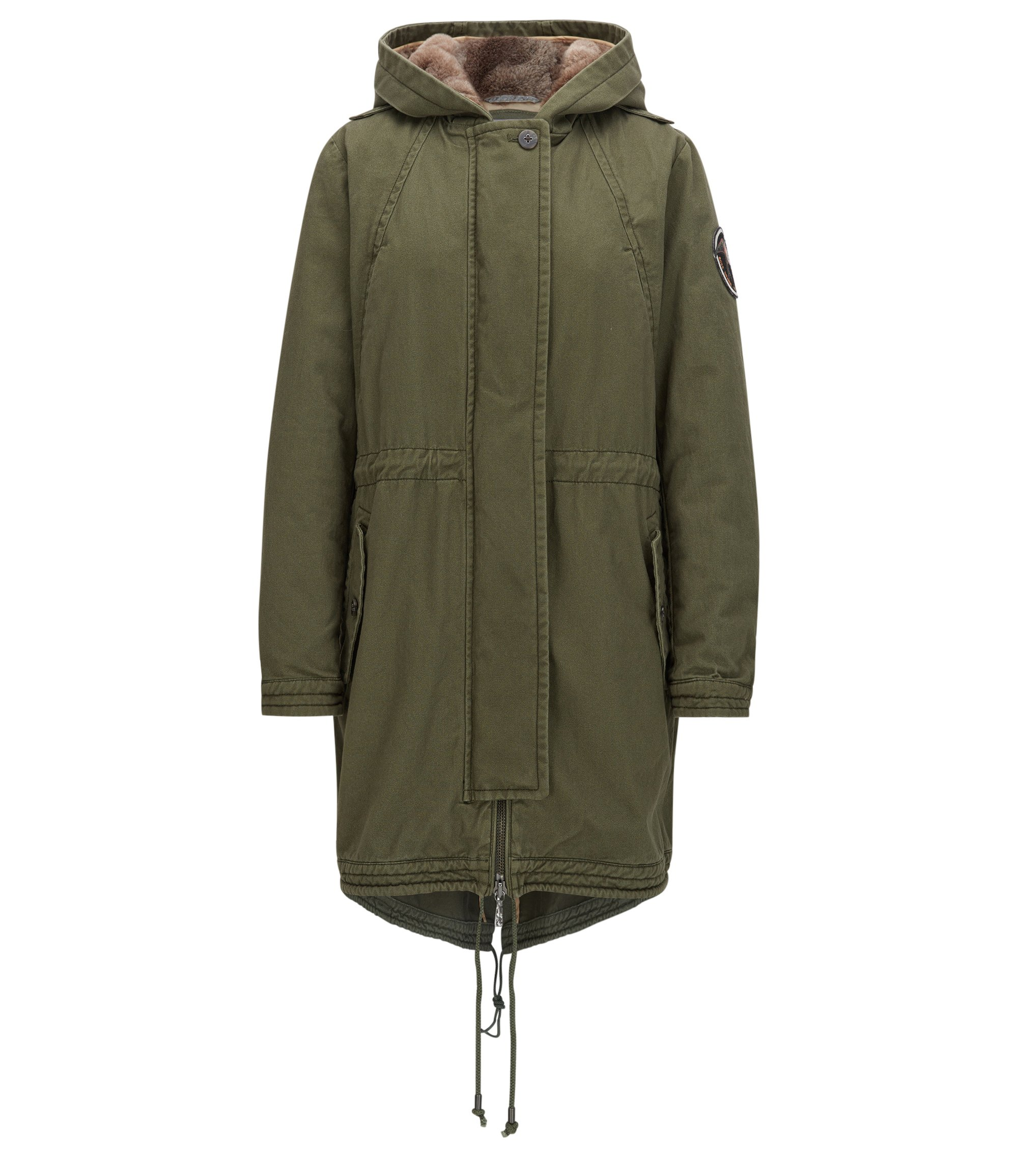 Regular-fit parka in washed cotton, Khaki