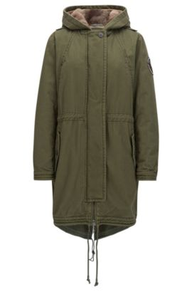 Parka Regular Fit en coton lavé, Kaki