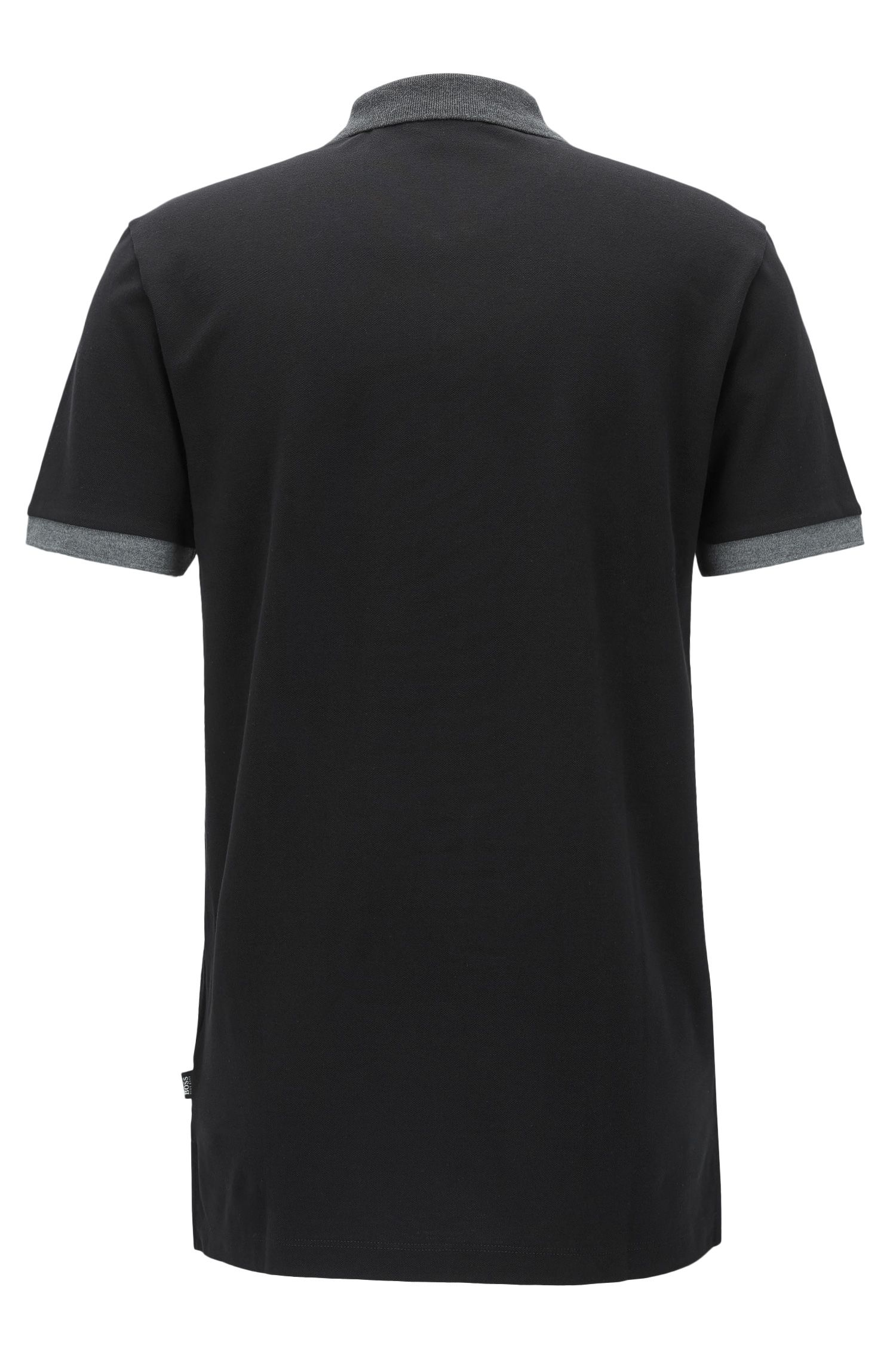 Regular-Fit Poloshirt aus Baumwolle im Colour Block Design, Schwarz