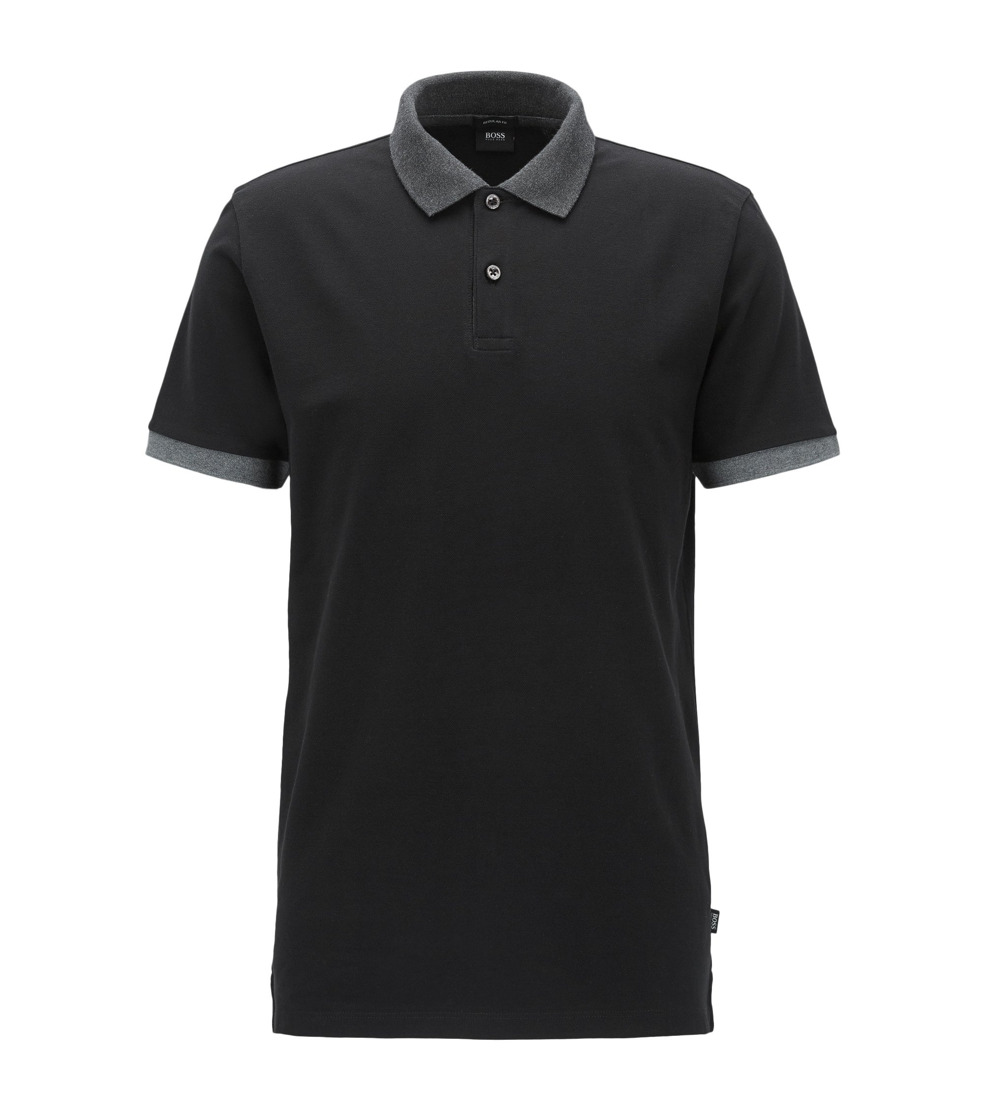 Regular-fit polo van katoen met colourblocking, Zwart