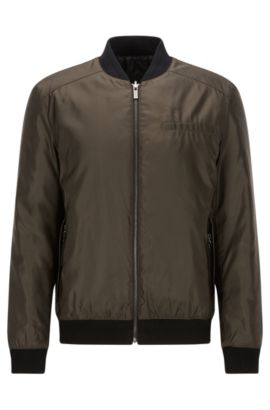 Slim-fit reversible bomber jacket with Teflon finish, Dark Green