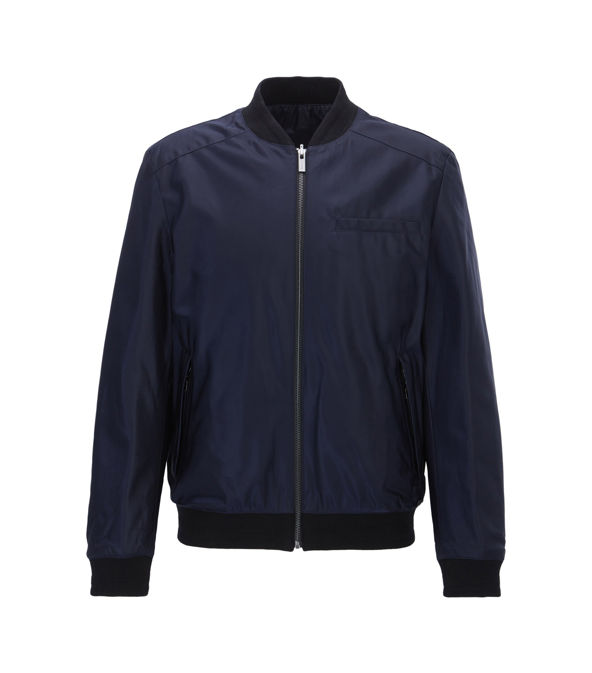 Slim-fit reversible bomber jacket with Teflon finish, Dark Blue