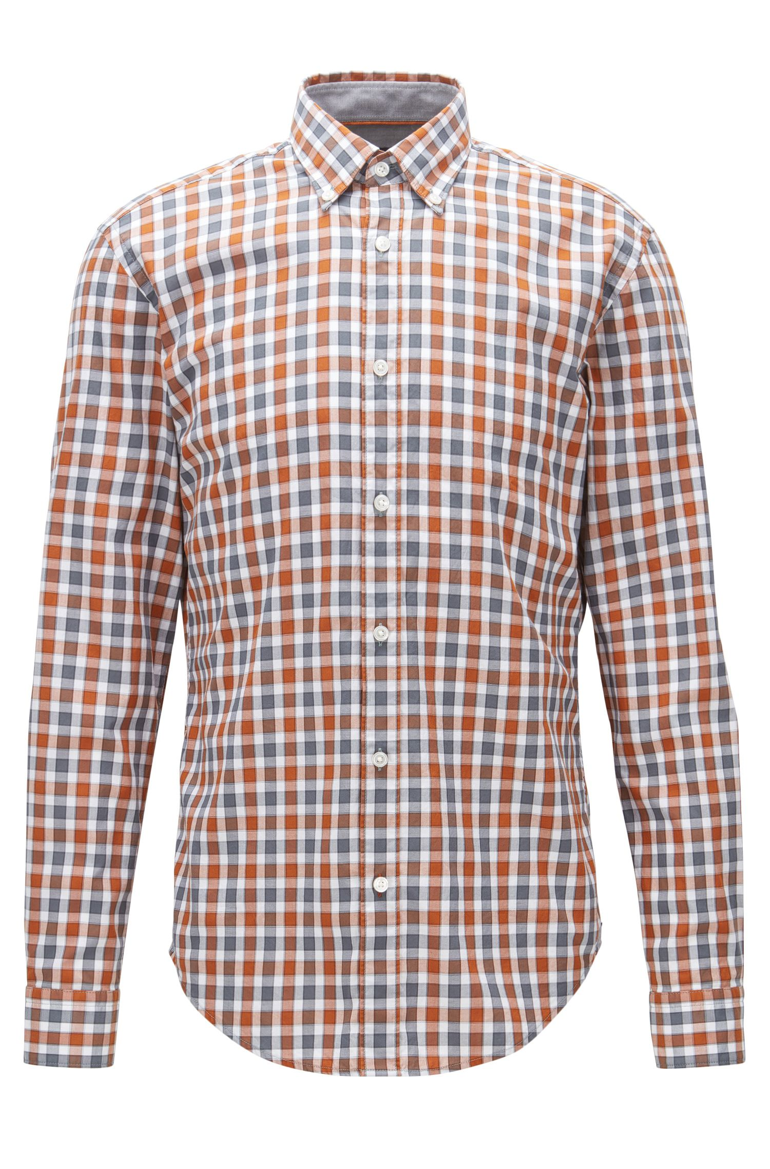 Slim-fit washed Oxford cotton shirt in a Vichy check