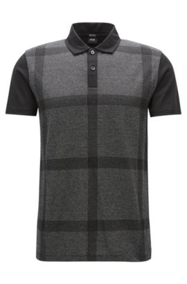 Polo regular fit en algodón mercerizado, Negro