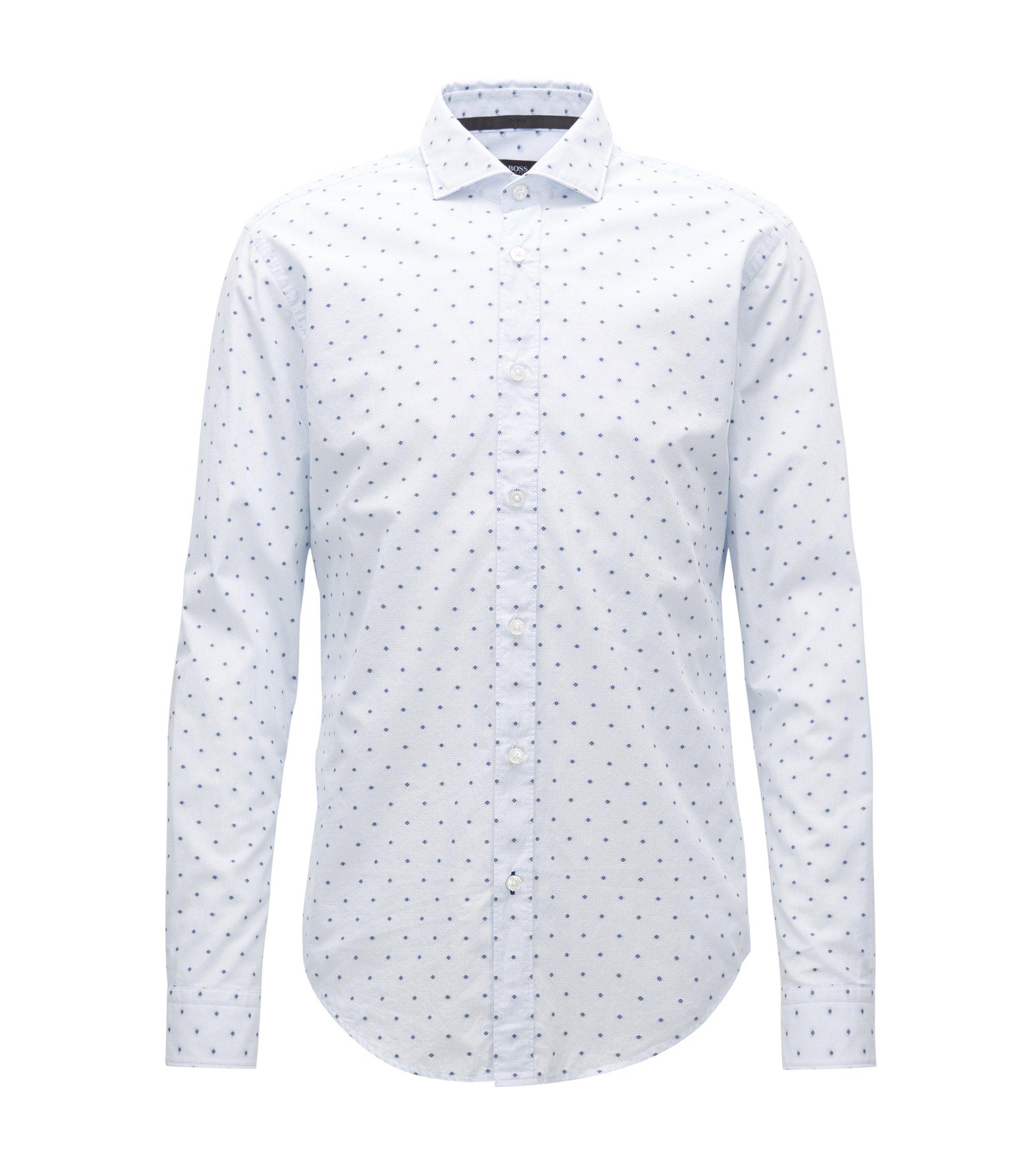 Slim-fit overhemd van katoen in fil coupé, Bedrukt