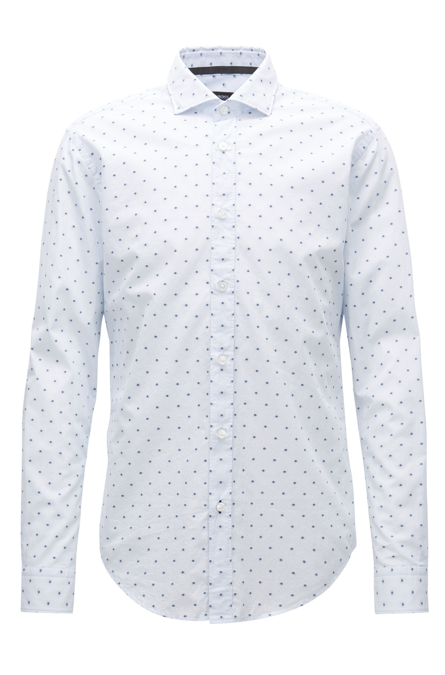 Slim-fit shirt in fil-coupé cotton