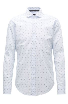 Slim-fit shirt in fil-coupé cotton, Patterned
