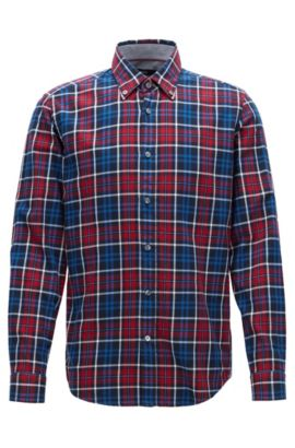 Regular-fit shirt in checked cotton, Patterned