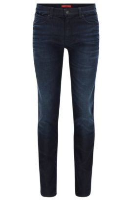 Jeans slim fit in denim elasticizzato nero scuro, Blu scuro