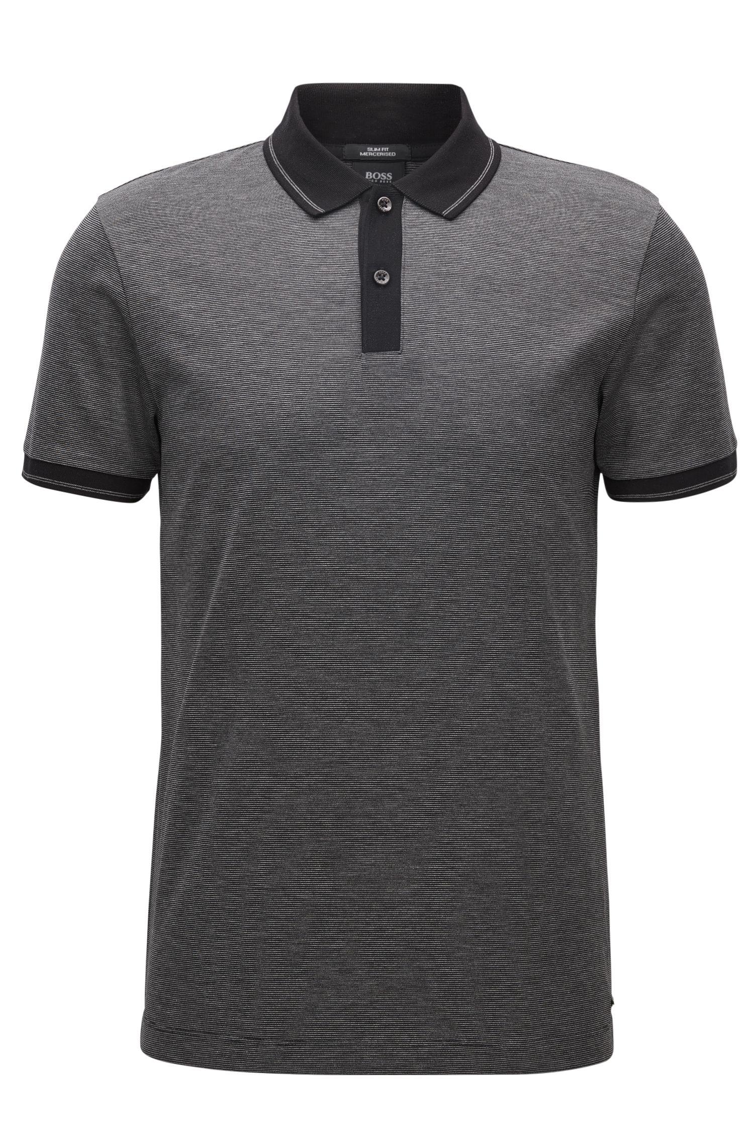 Slim-Fit-Poloshirt aus merzerisierter Baumwolle