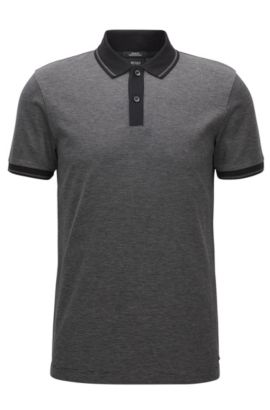 Slim-fit polo shirt in mercerised cotton, Black