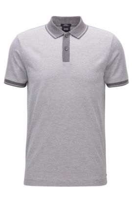 Slim-fit polo shirt in mercerised cotton, Grey