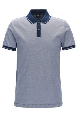 Slim-fit polo shirt in mercerised cotton, Blue