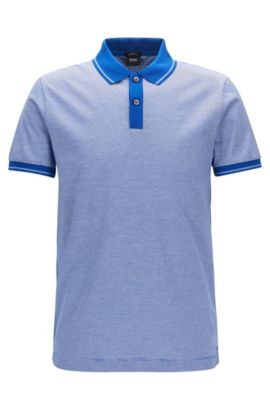 Polo Slim Fit en coton mercerisé, Bleu