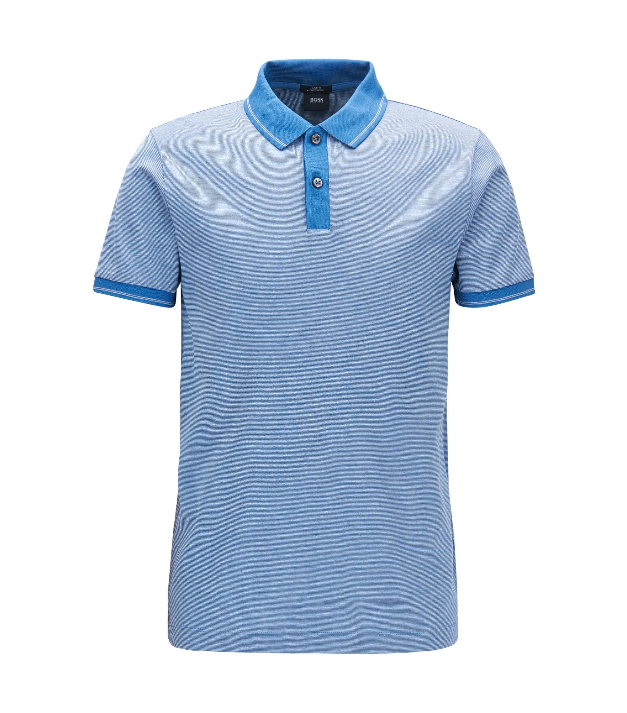 Slim-Fit Poloshirt aus merzerisierter Baumwolle, Blau