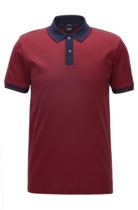 Polo Slim Fit en coton mercerisé, Rouge