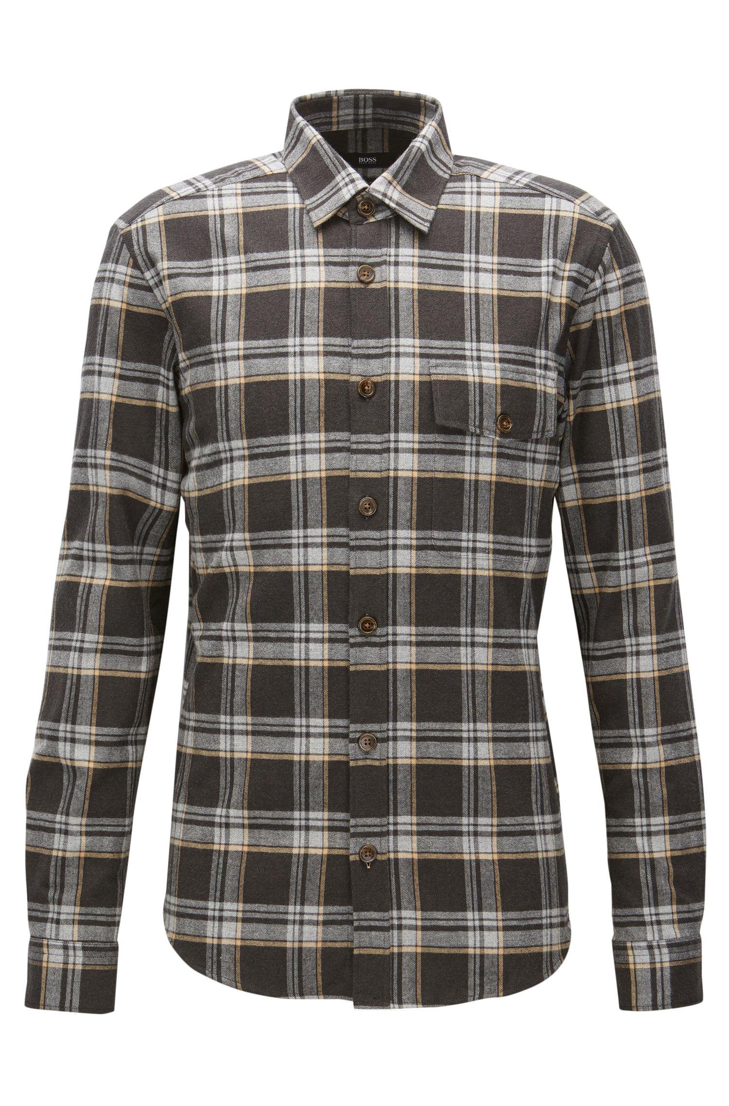 Camicia regular fit in flanella di cotone a quadri